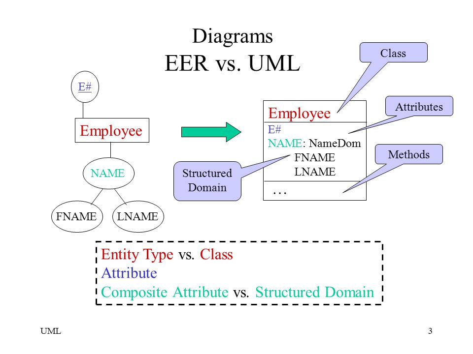 Eer Vs Uml Terminology Eer Diagram Entity Type Entity Attribute