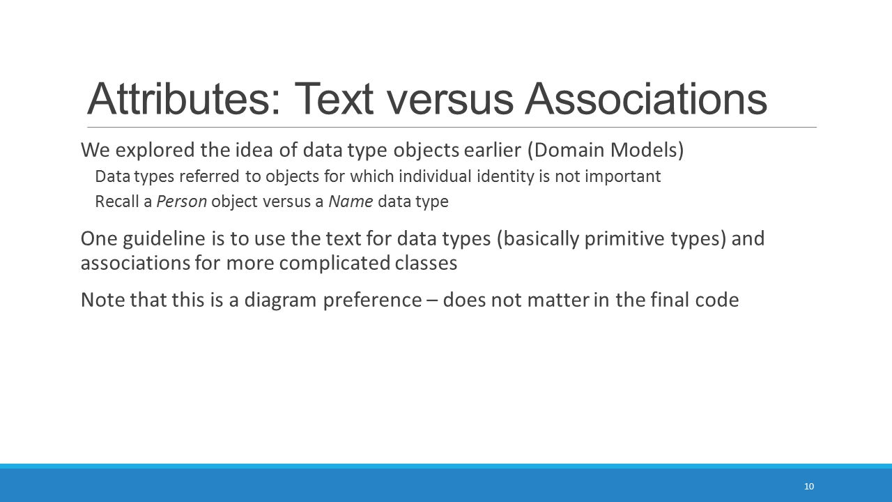 Attributes: Text versus Associations