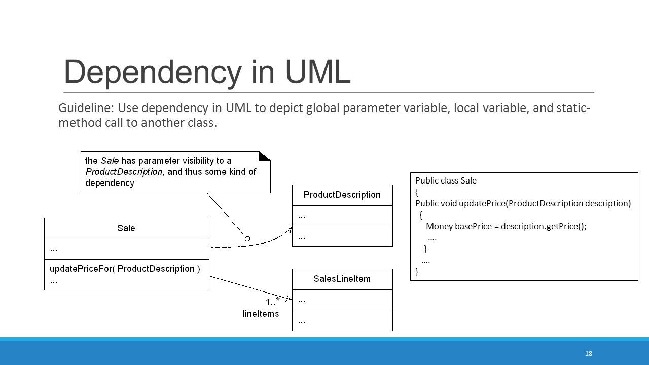Dependency in UML Guideline: Use dependency in UML to depict global parameter variable, local variable, and static- method call to another class.