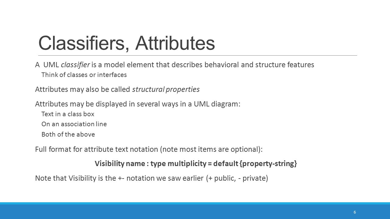 Classifiers, Attributes