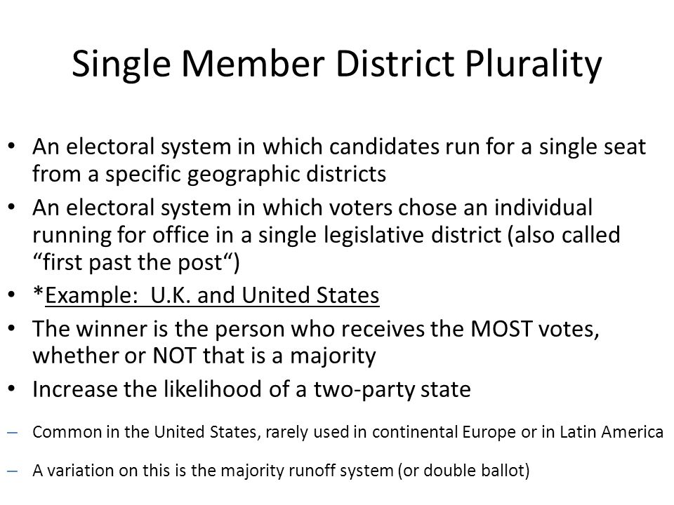 single member district system