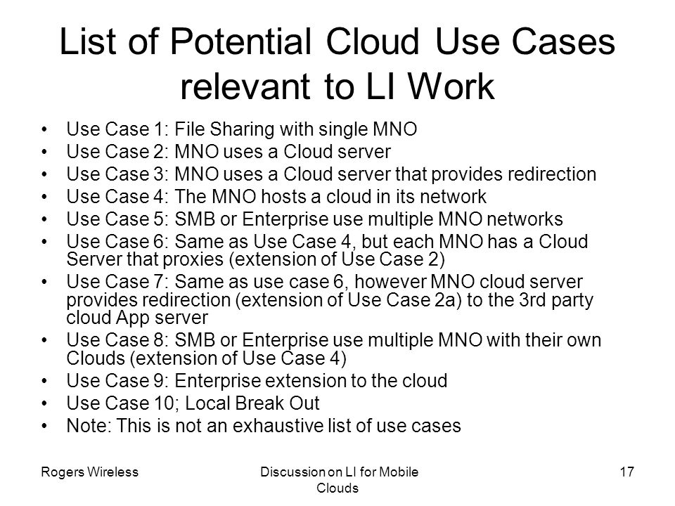 List of Potential Cloud Use Cases relevant to LI Work