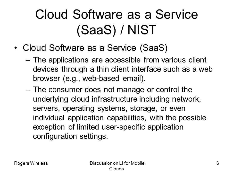 Cloud Software as a Service (SaaS) / NIST