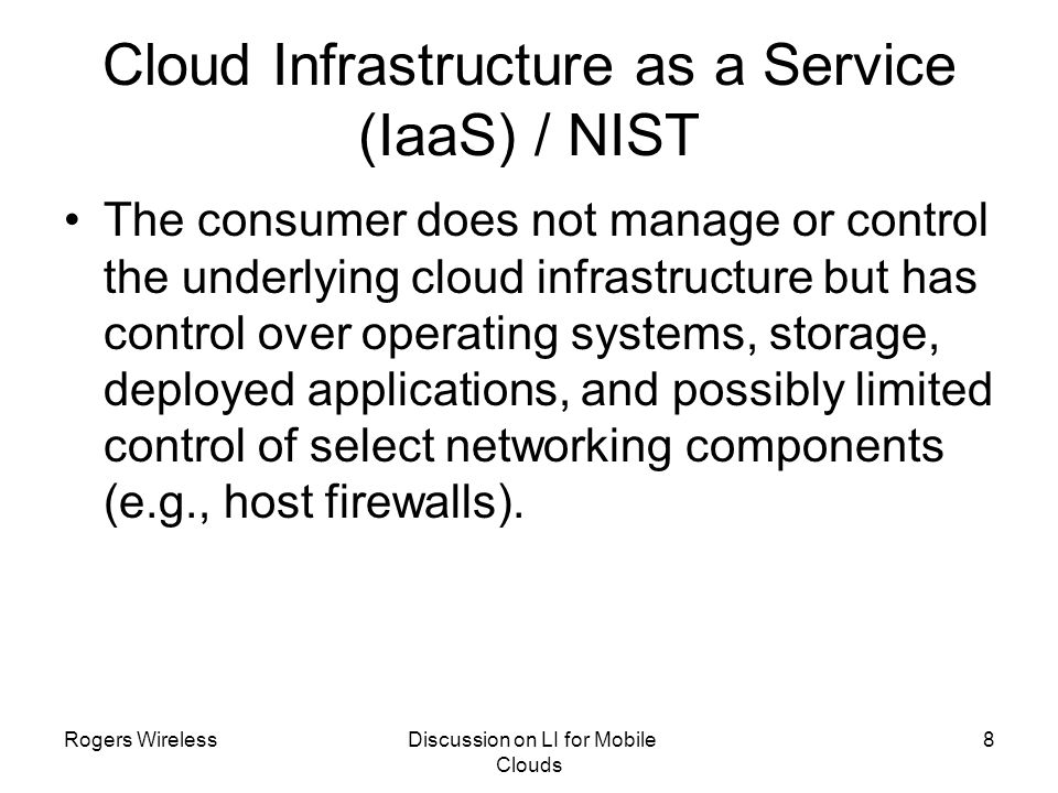 Cloud Infrastructure as a Service (IaaS) / NIST
