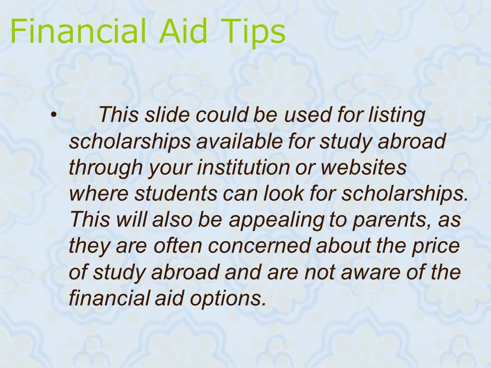 Financial Aid Tips