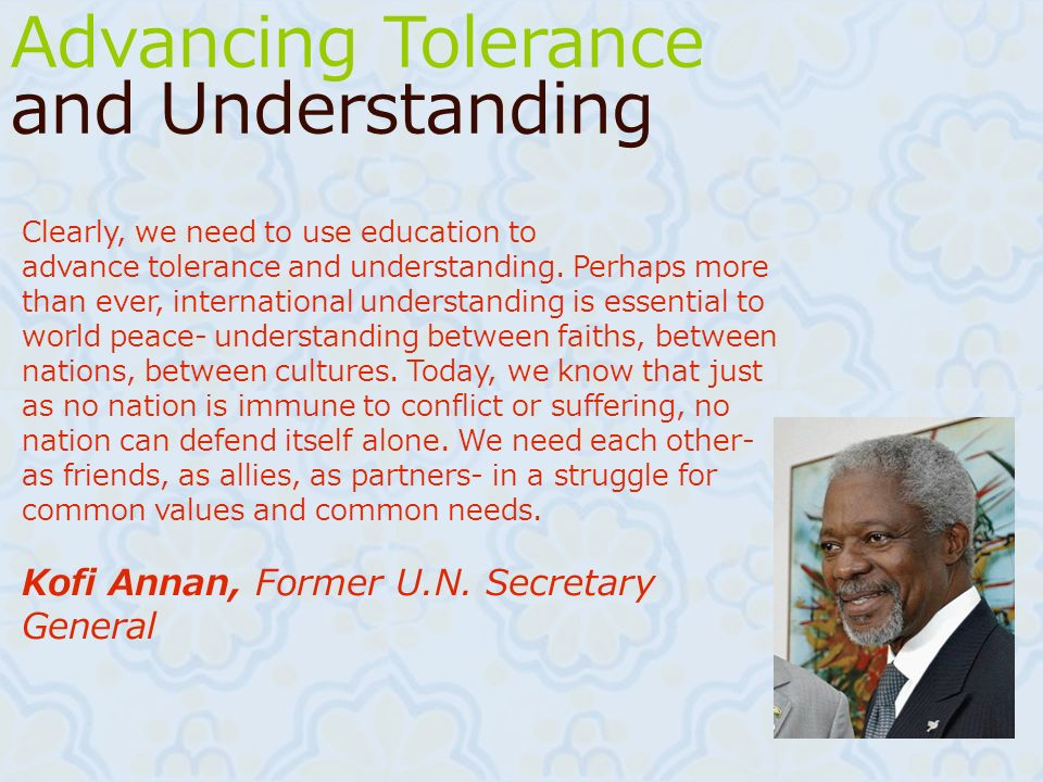 Advancing Tolerance and Understanding