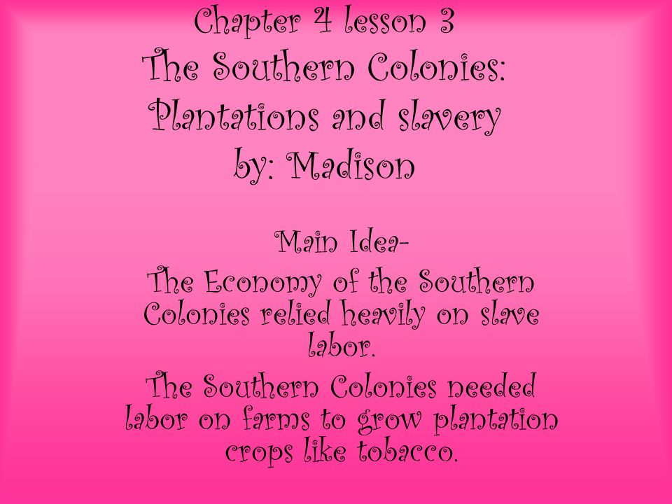 what type of economy did the southern colonies have
