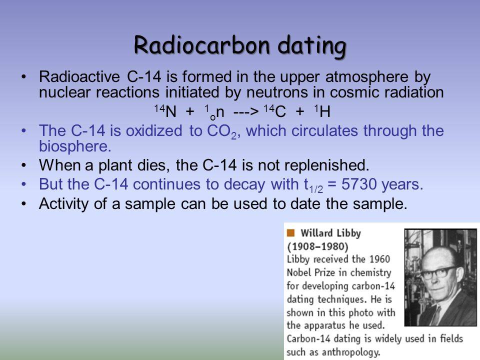 Carbon dating in nuclear chemistry