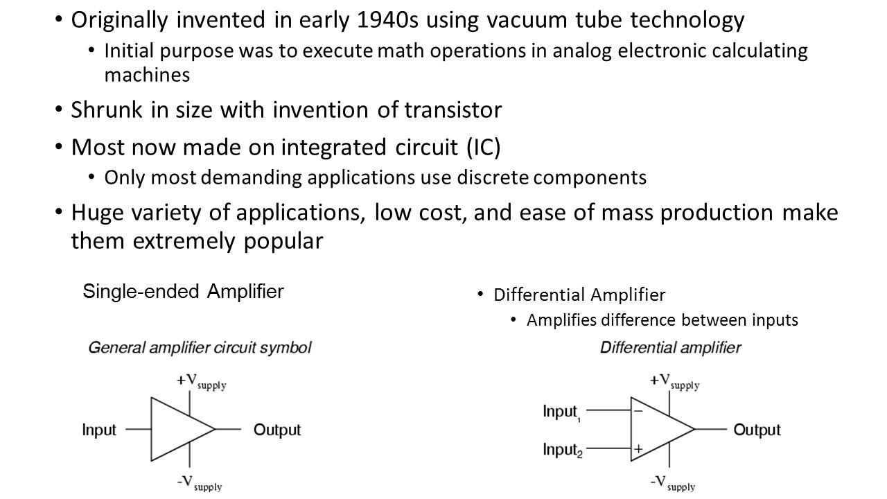 Originally invented in early 1940s using vacuum tube technology