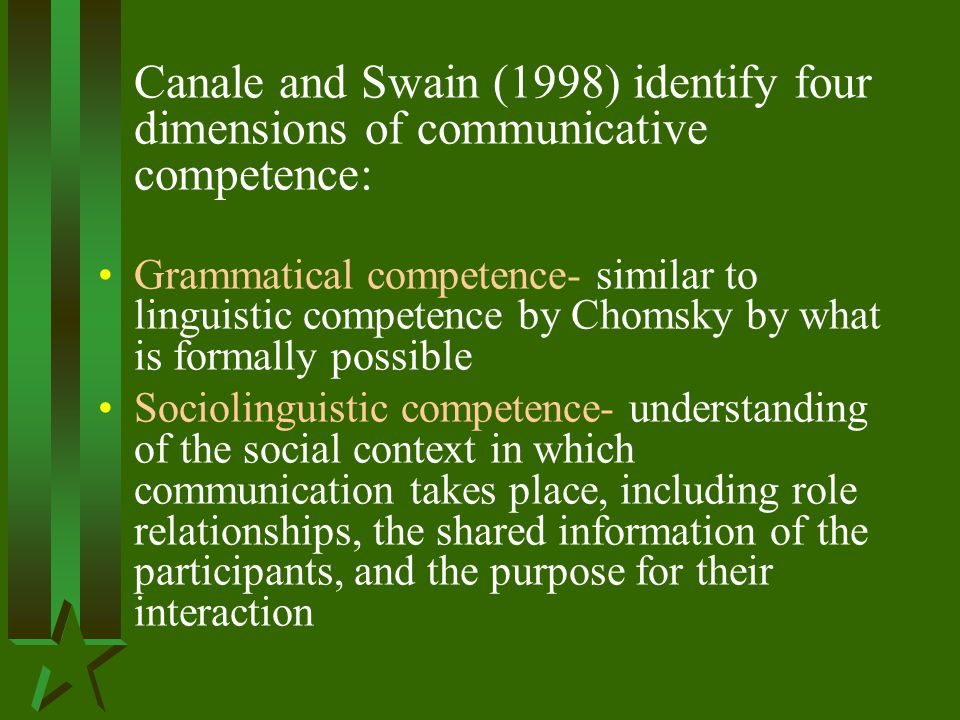 Canale and Swain (1998) identify four dimensions of communicative competence: