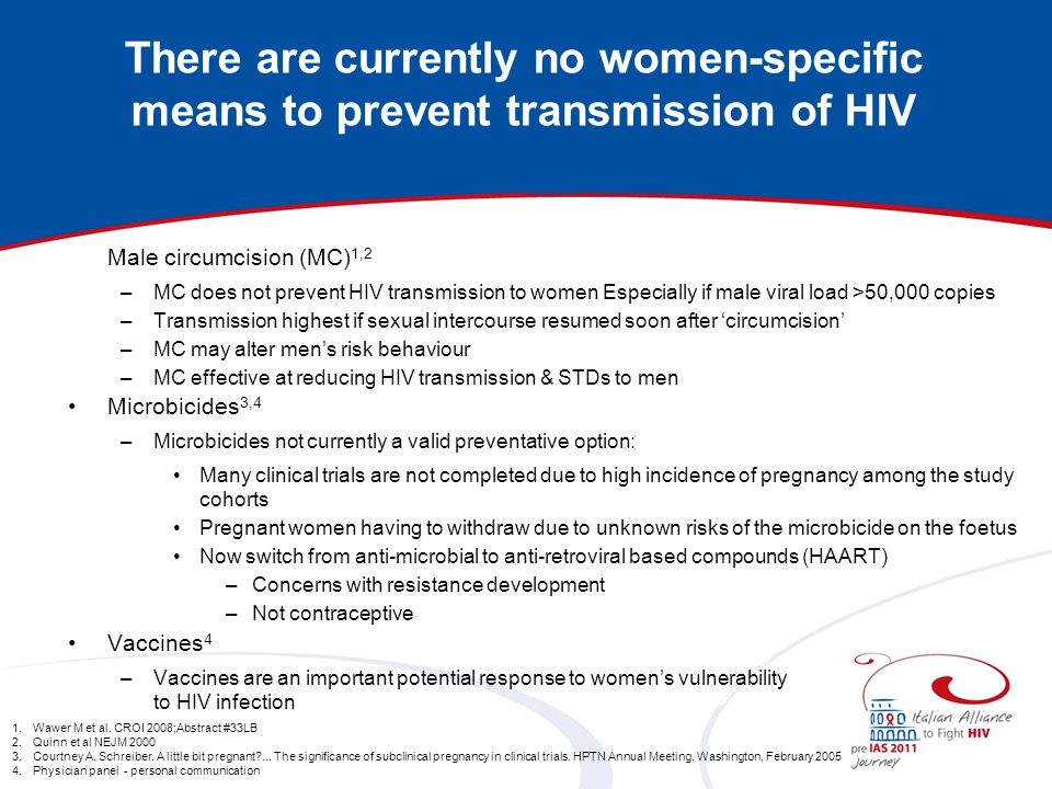 There are currently no women-specific means to prevent transmission of HIV