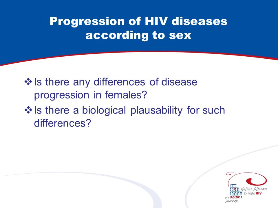 Progression of HIV diseases according to sex