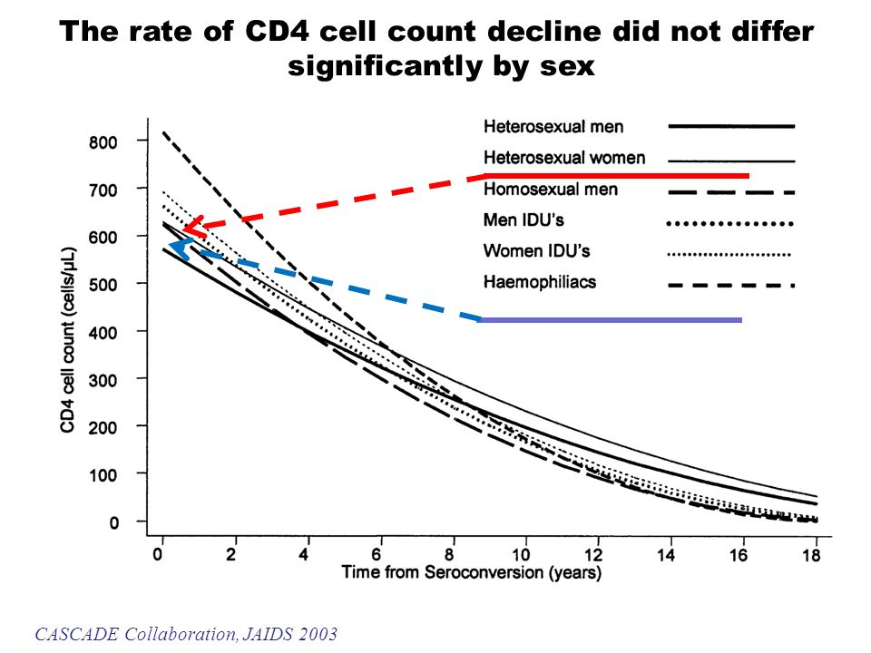 The rate of CD4 cell count decline did not differ