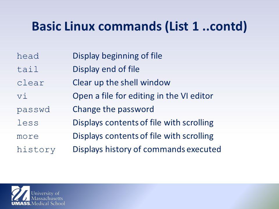basic linux commands list