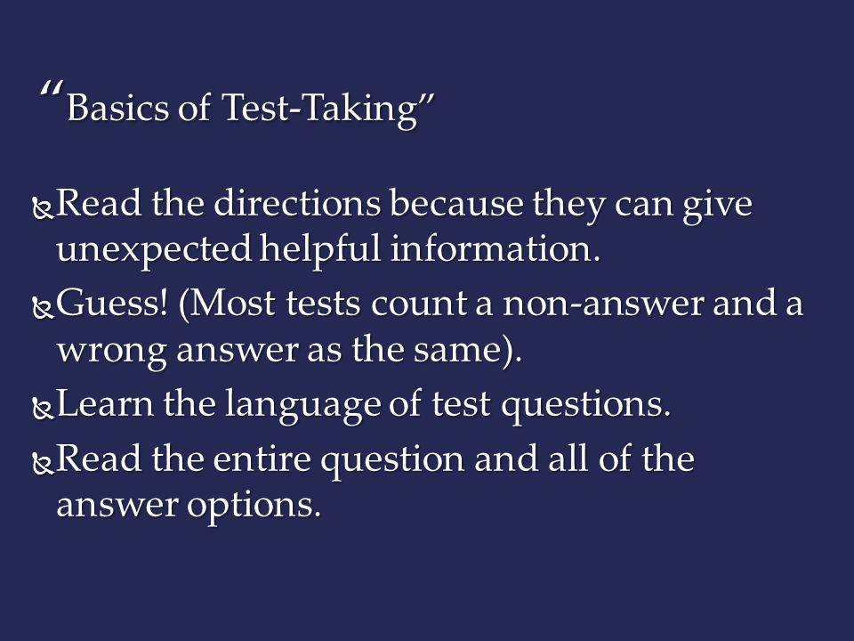 Basics of Test-Taking