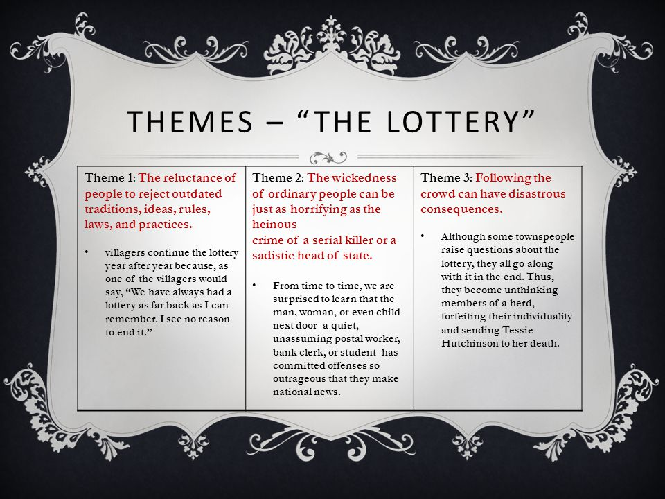 Themes – The lottery Theme 1: The reluctance of people to reject outdated traditions, ideas, rules, laws, and practices.