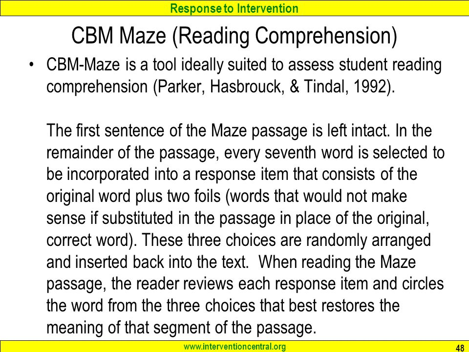 graphic about Printable Maze Reading Passages referred to as RTI: Schoolwide Testing Instruments Clroom Details Range