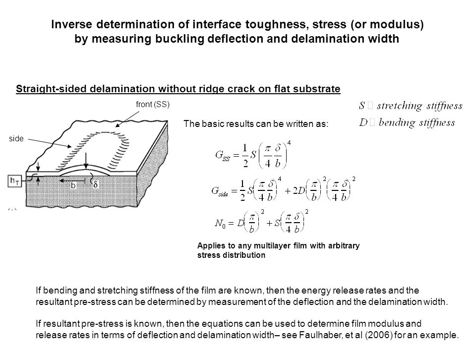 Inverse determination of interface toughness, stress (or modulus)