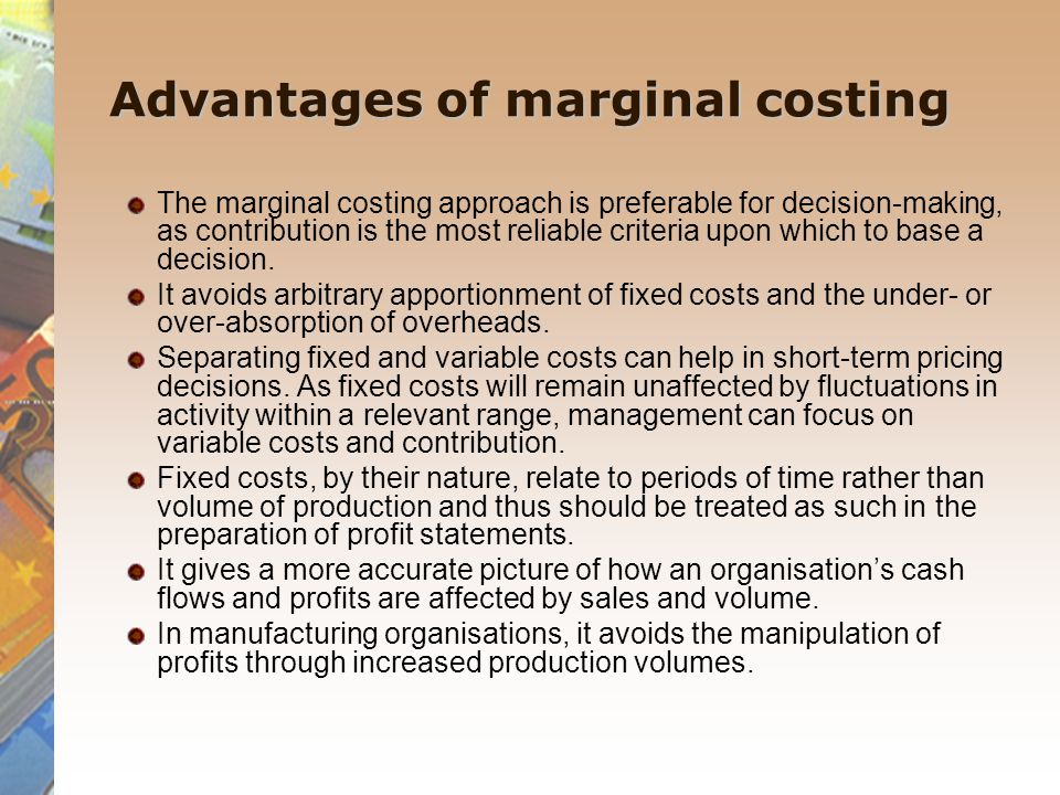Difference between absorption costing and marginal costing.