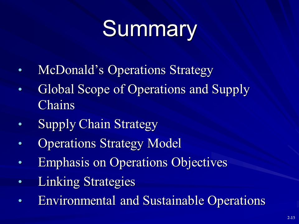 Summary McDonald's Operations Strategy