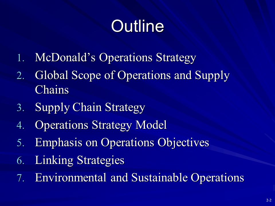 Outline McDonald's Operations Strategy
