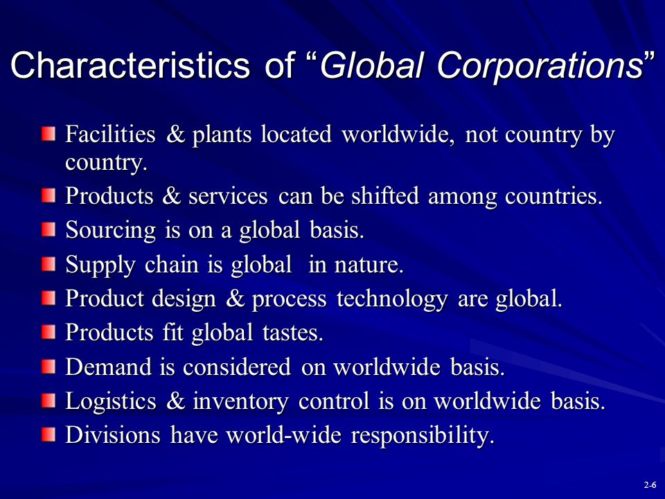 Characteristics of Global Corporations