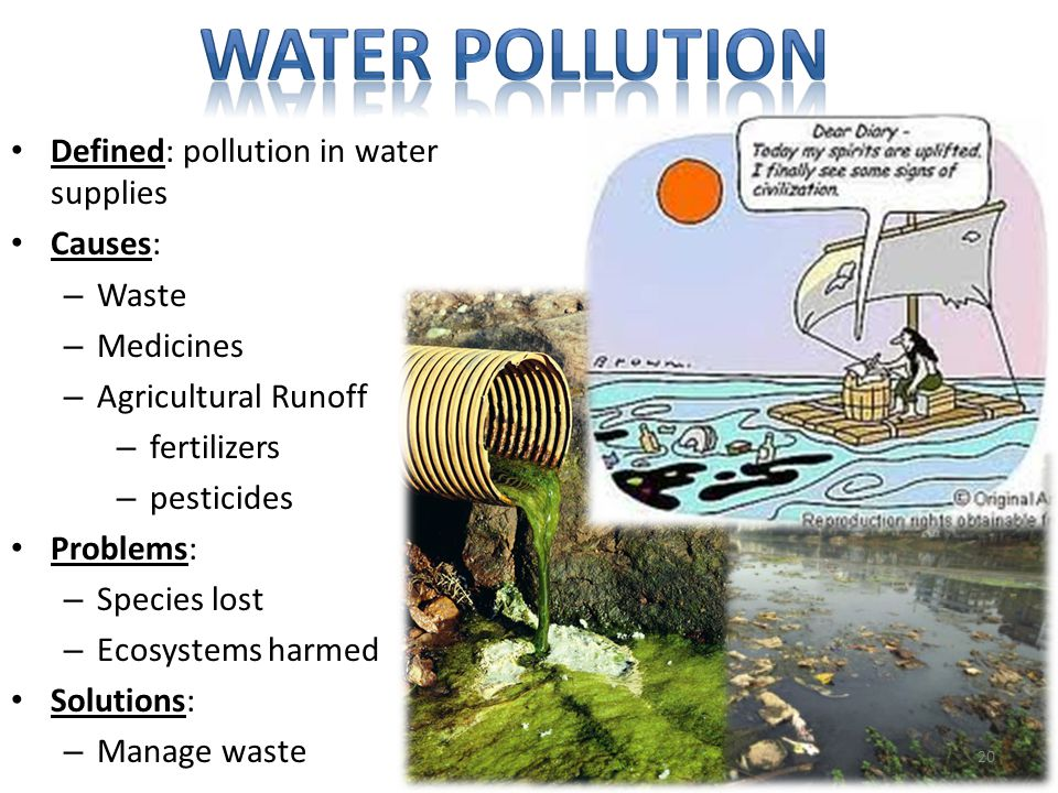 Water pollution Defined: pollution in water supplies Causes: Waste