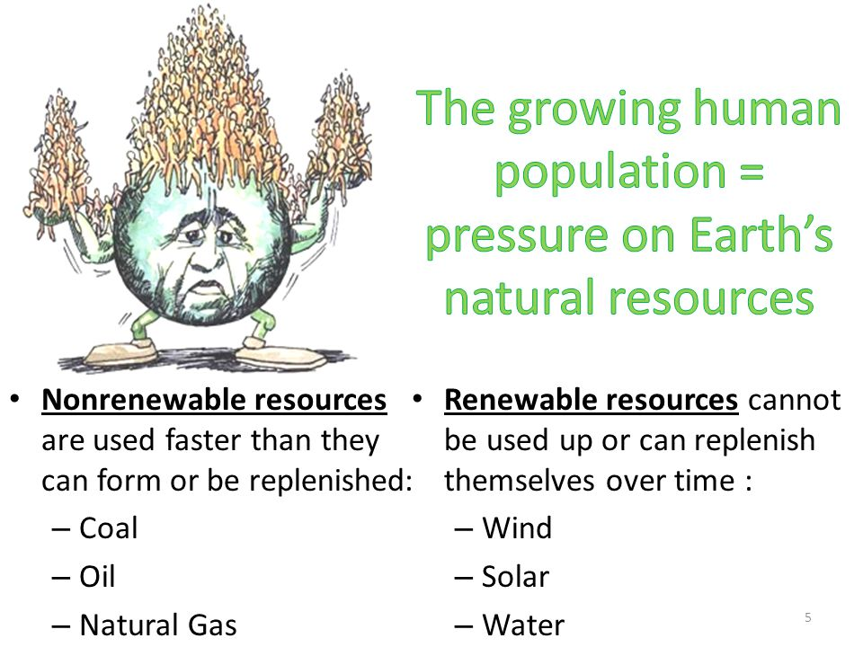 The growing human population = pressure on Earth's natural resources