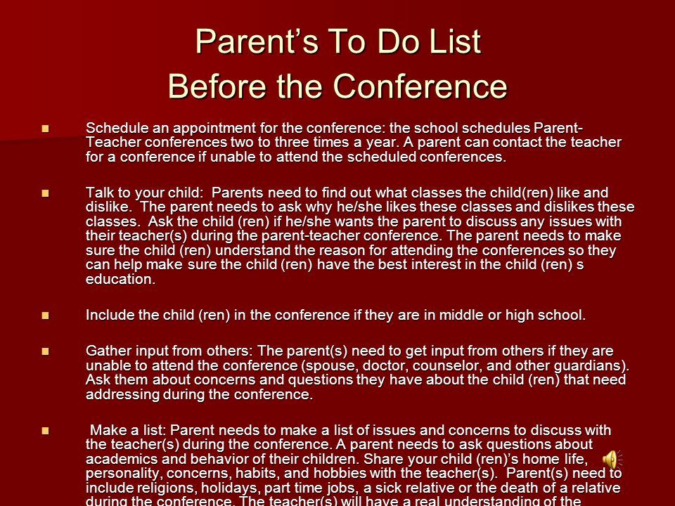 Parent's To Do List Before the Conference