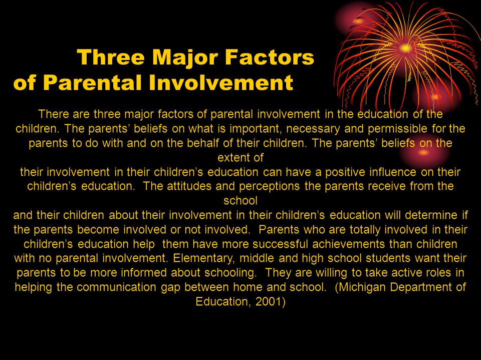 Three Major Factors of Parental Involvement