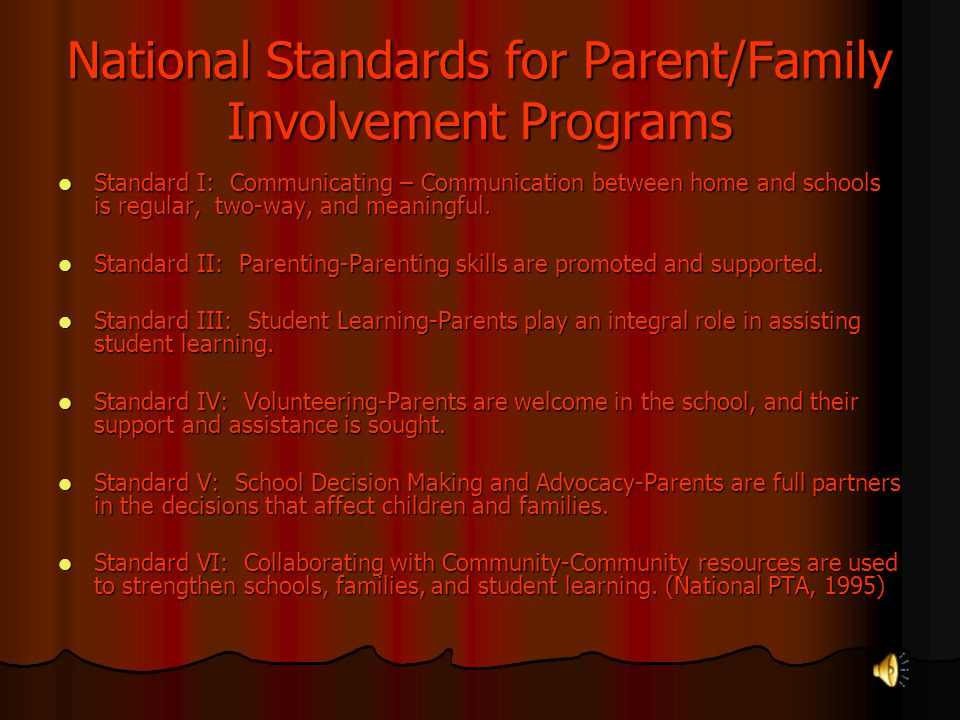 National Standards for Parent/Family Involvement Programs
