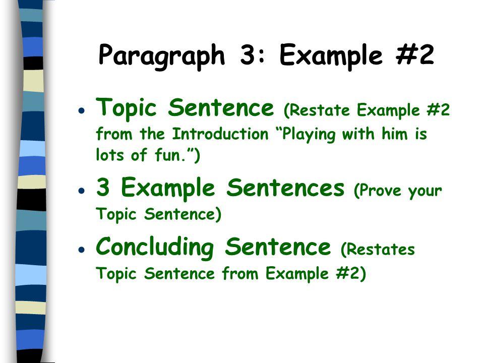 Paragraph 3: Example #2 Topic Sentence (Restate Example #2 from the Introduction Playing with him is lots of fun. )