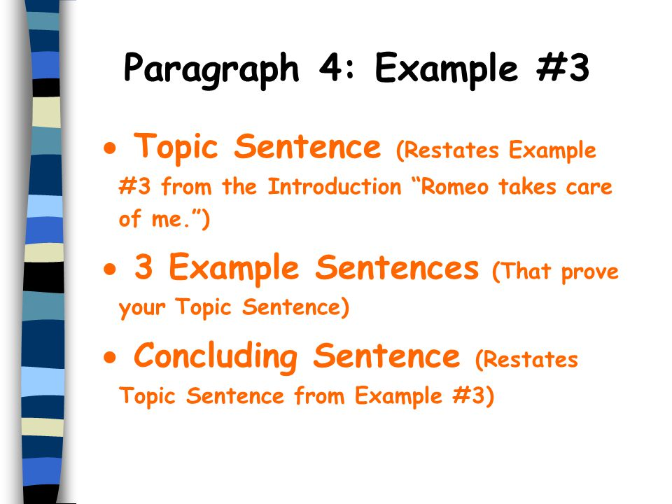 Paragraph 4: Example #3 Topic Sentence (Restates Example #3 from the Introduction Romeo takes care of me. )