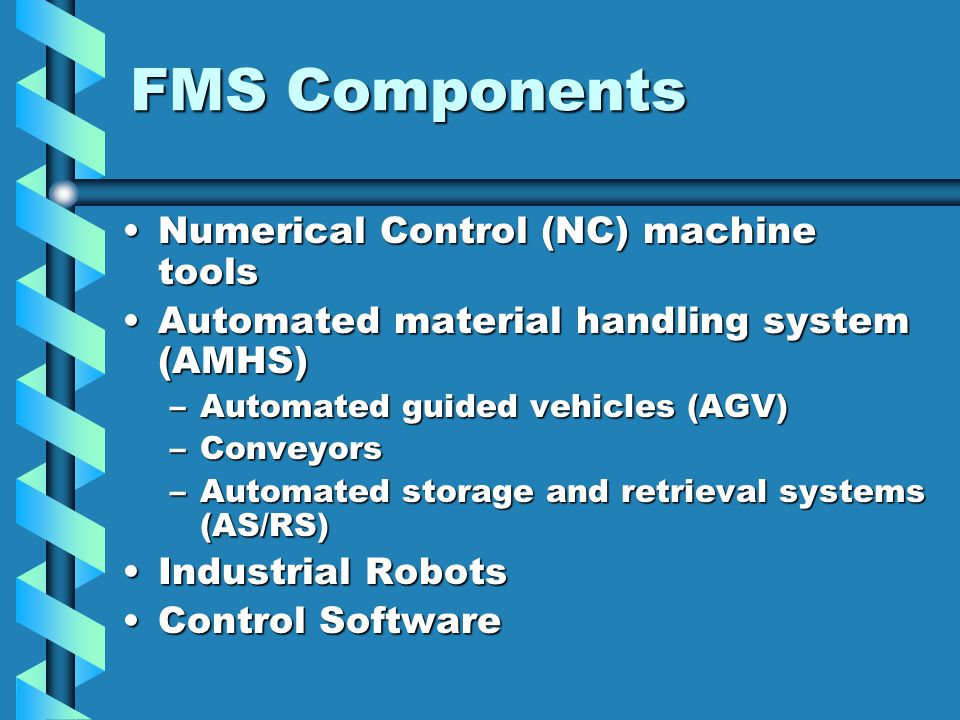 material handling system in fms essay Flexible manufacturing systems a flexible manufacturing system (fms) is a form of flexible automation in which several machine tools are linked together by a material-handling system, and all aspects of the system are controlled by a central computer.