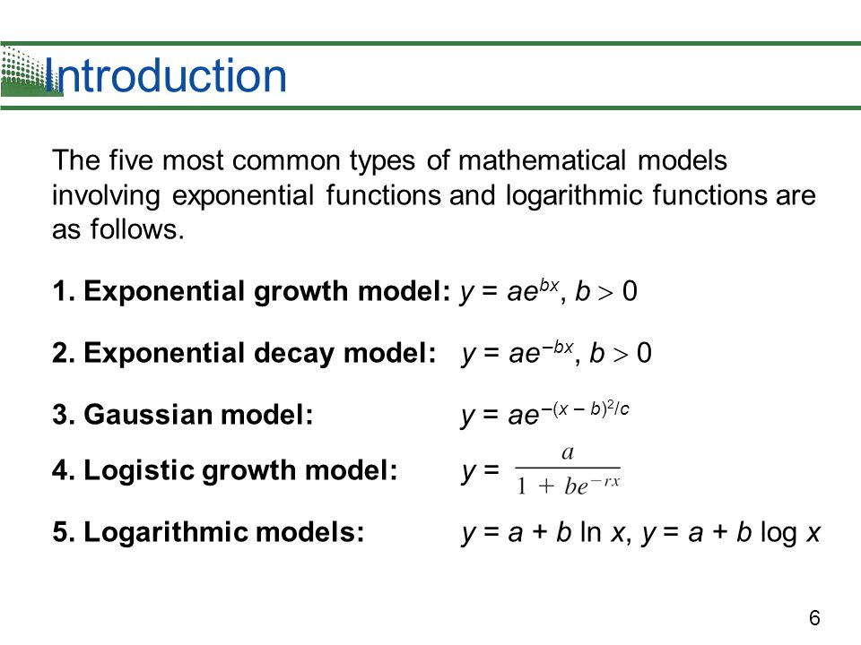 applications of exponential and logarithmic functions Learn about logarithms, which are the inverses of exponents use logarithms to solve various equations then analyze both logarithmic and exponential functions and their graphs.