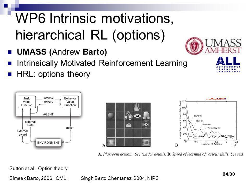 WP6 Intrinsic motivations, hierarchical RL (options)