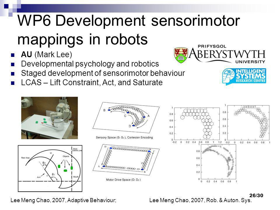 WP6 Development sensorimotor mappings in robots
