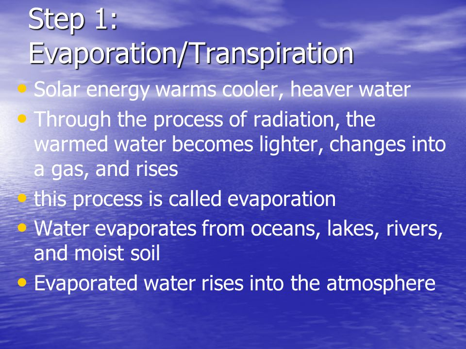 Step 1: Evaporation/Transpiration