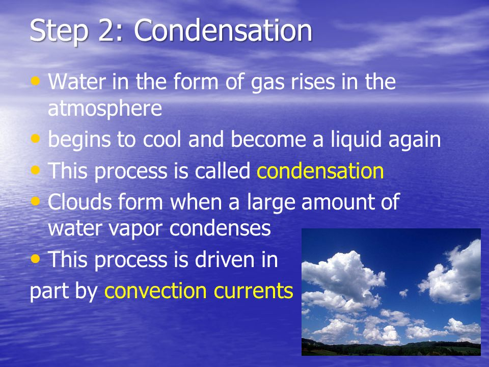 Step 2: Condensation Water in the form of gas rises in the atmosphere