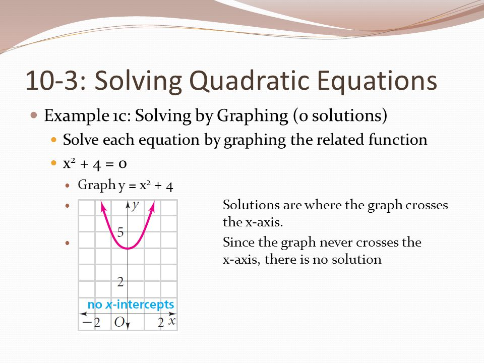 10-3: Solving Quadratic Equations
