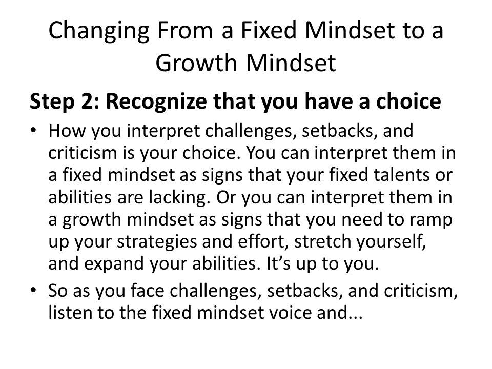 Changing From a Fixed Mindset to a Growth Mindset