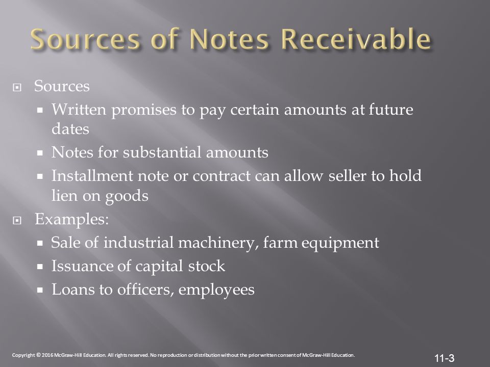 Sources of Notes Receivable