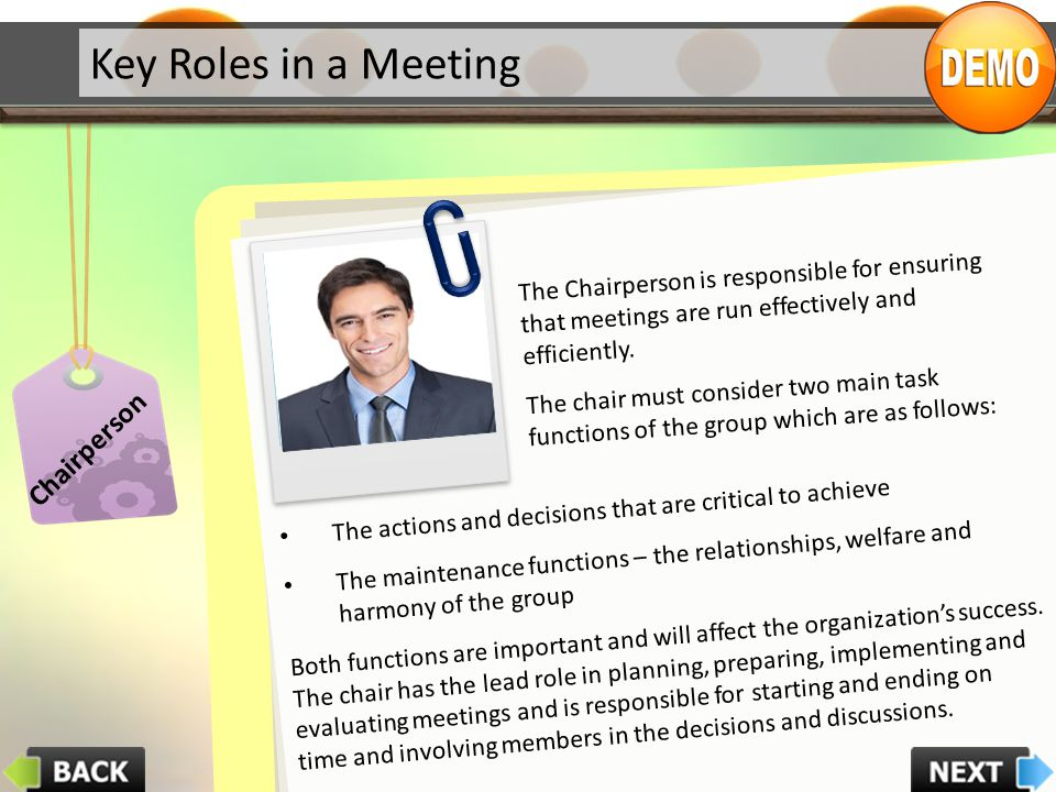 Key Roles in a Meeting Chairperson