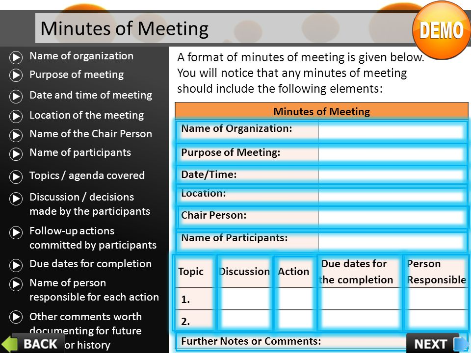 Minutes of Meeting Name of organization.