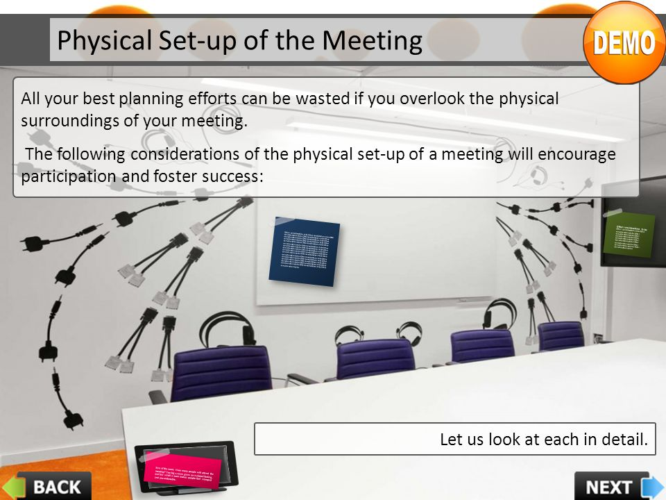 Physical Set-up of the Meeting