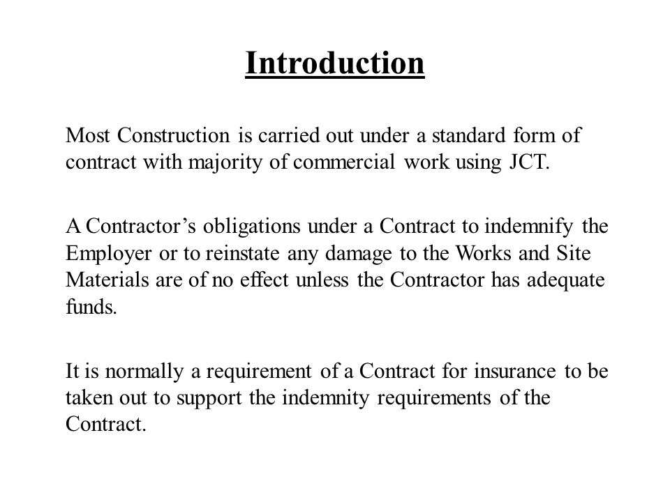 Insurance Provisions Under Jct 1998 And Jct Standard Building