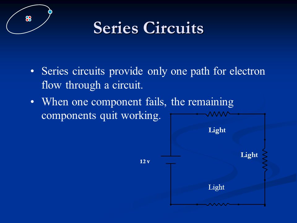 Series Circuits Series circuits provide only one path for electron flow through a circuit.