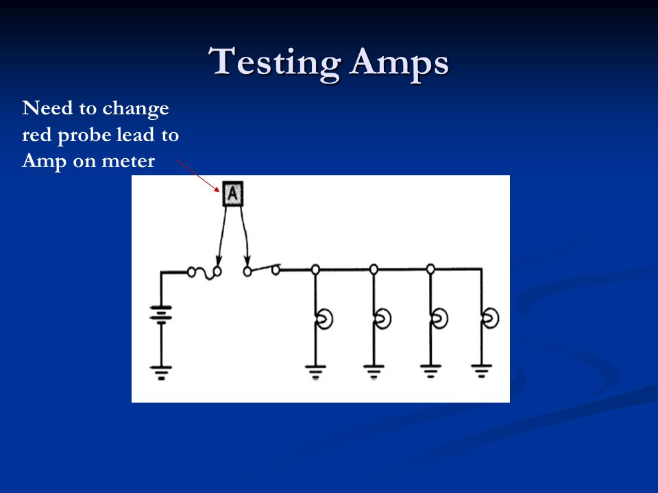 Testing Amps Need to change red probe lead to Amp on meter