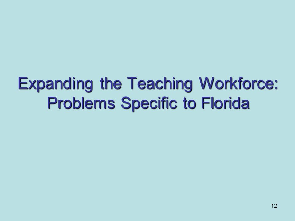 Expanding the Teaching Workforce: Problems Specific to Florida