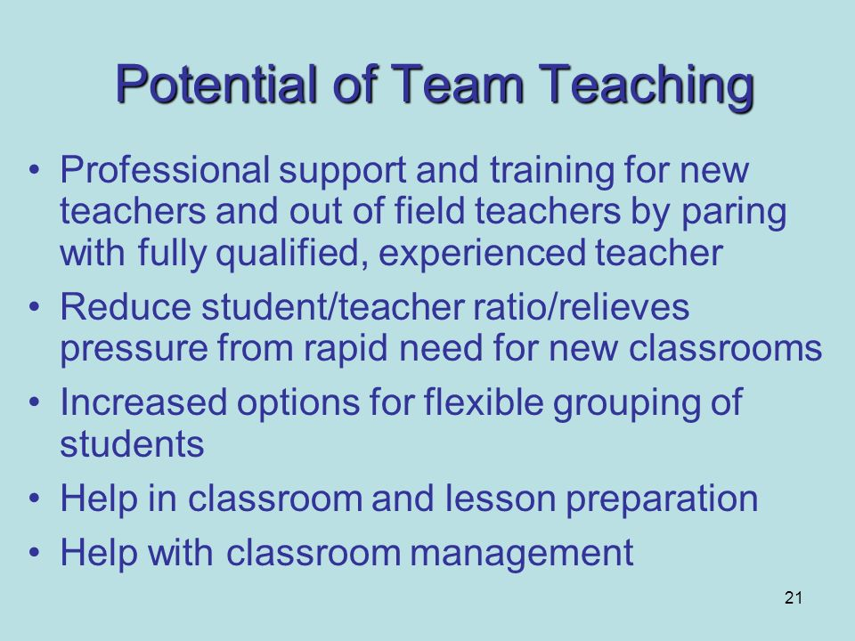 Potential of Team Teaching